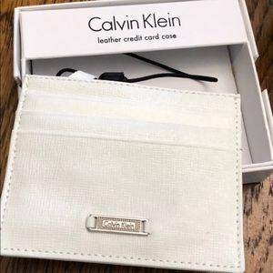 Calvin Klein credit card case wallet leather white